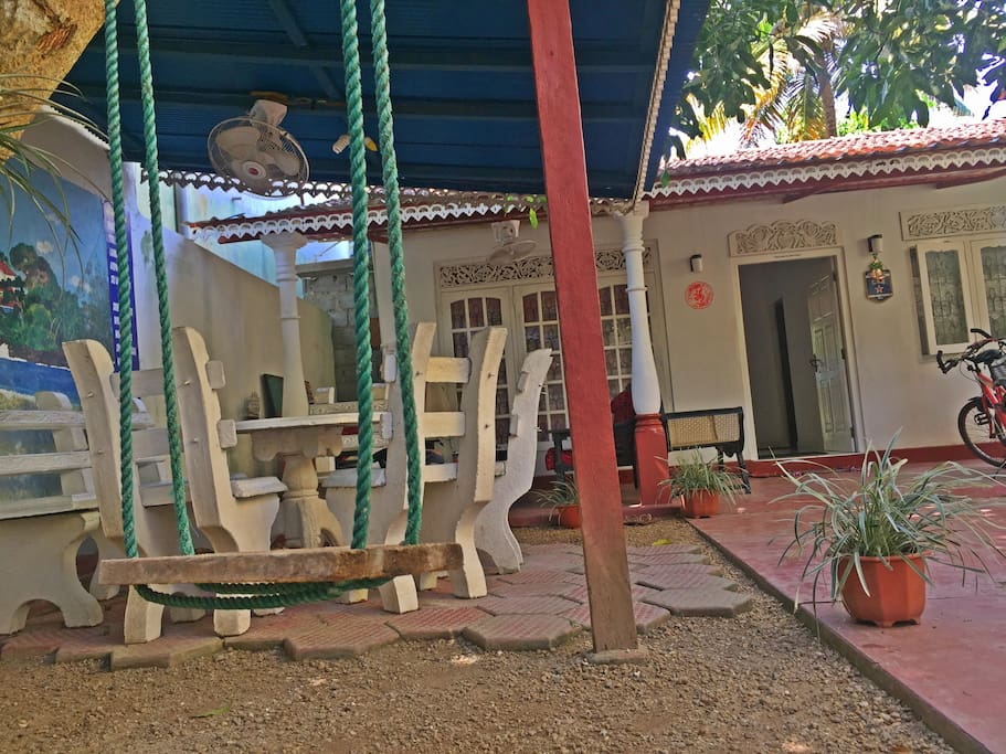 garden terrace and swing