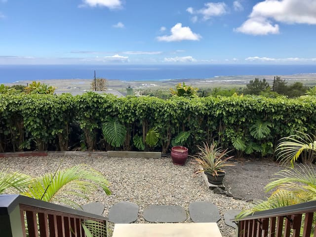 From our cottage lanai...our view is incredible! And no more volcanic haze...our VOG is gone!!!