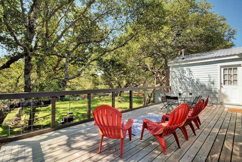 Lots of patio seating for overlooking the shaded backyard