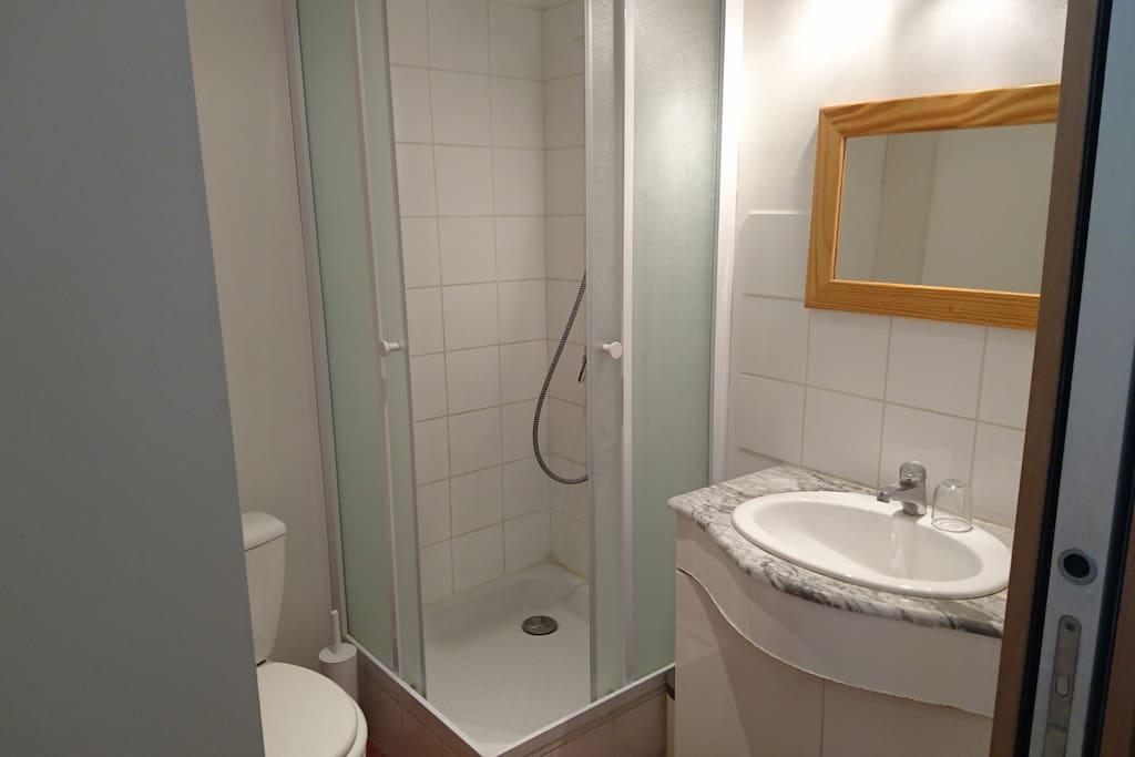 Douche, lavabos, rangement pour les affaires de toilette et bien entendu le WC.