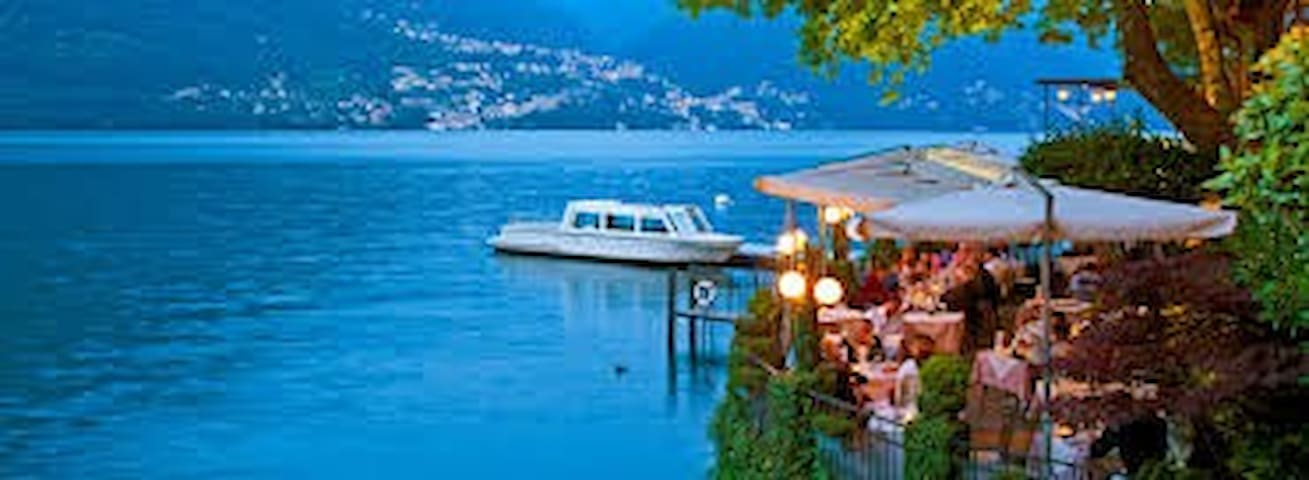 Dine lakeside, arrive by taxi boat.