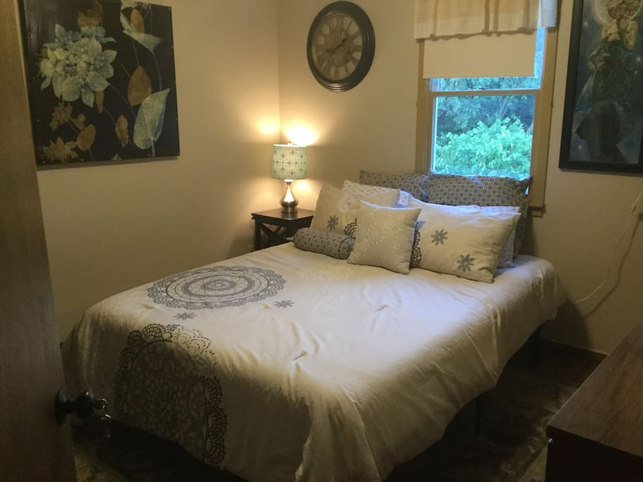 Rear bedroom private. Memory foam mattress. Access through middle bedroom or bathroom.