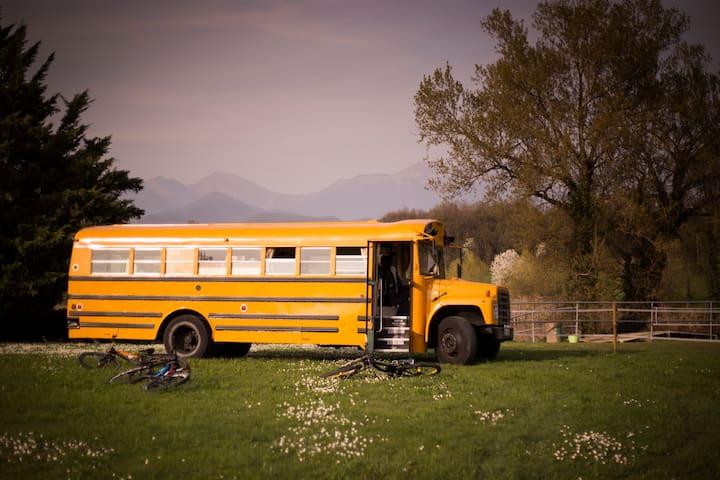 School Bus Glamping near Verona