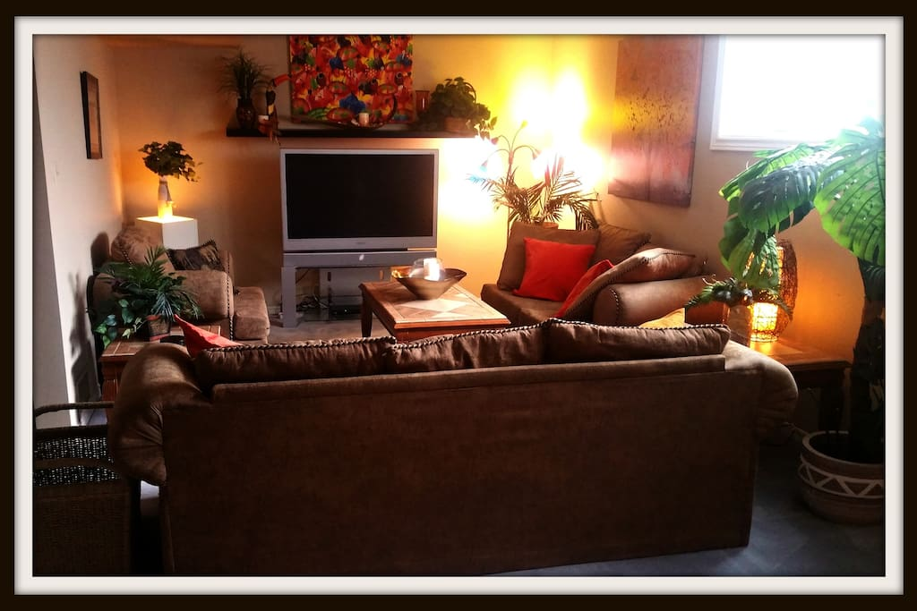 """Living room ~ 50"""" tv with HD cable ~ Salon ~ TV 50"""" haute definition"""