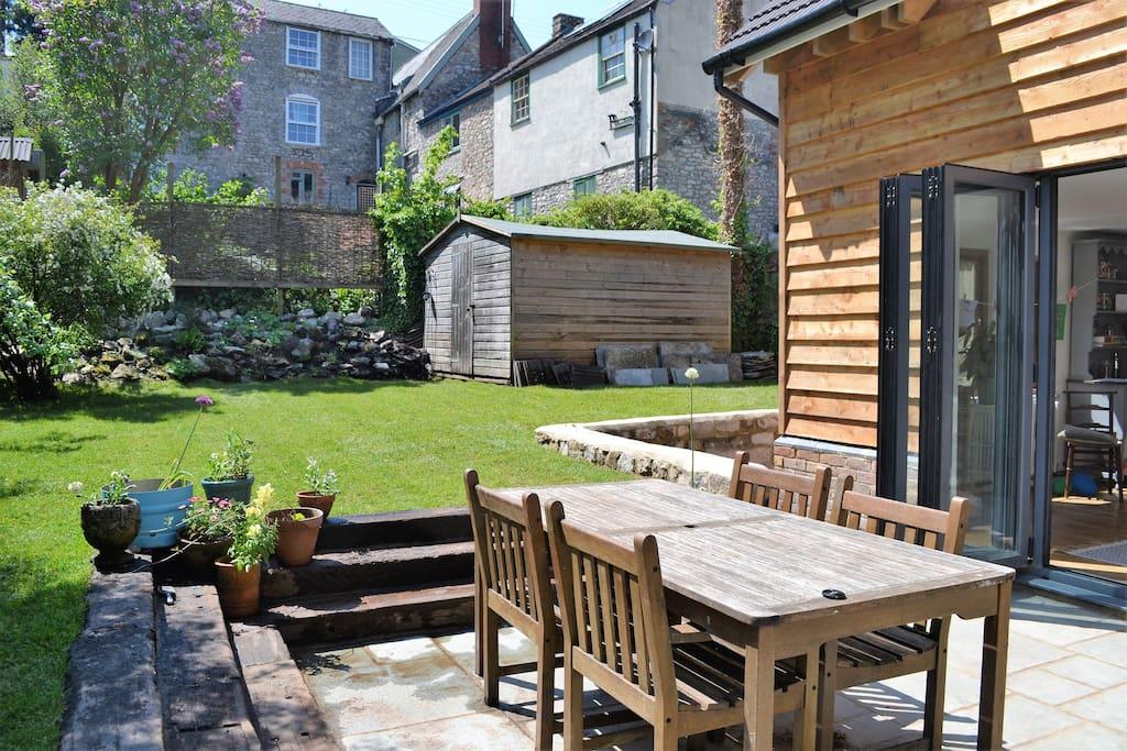 Patio and garden with bi-fold doors
