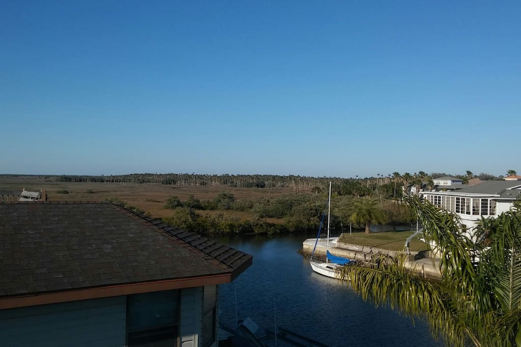View from balcony room. boat channel and nature coast.