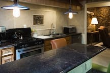 Granite counter tops in kitchen and dining area.