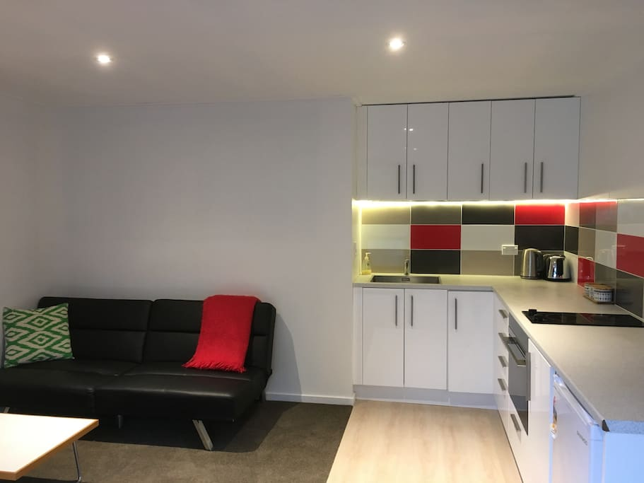 Comfortable lounge and full kitchen