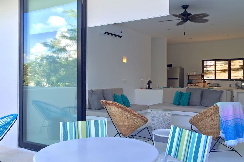 living area opens to private terrace