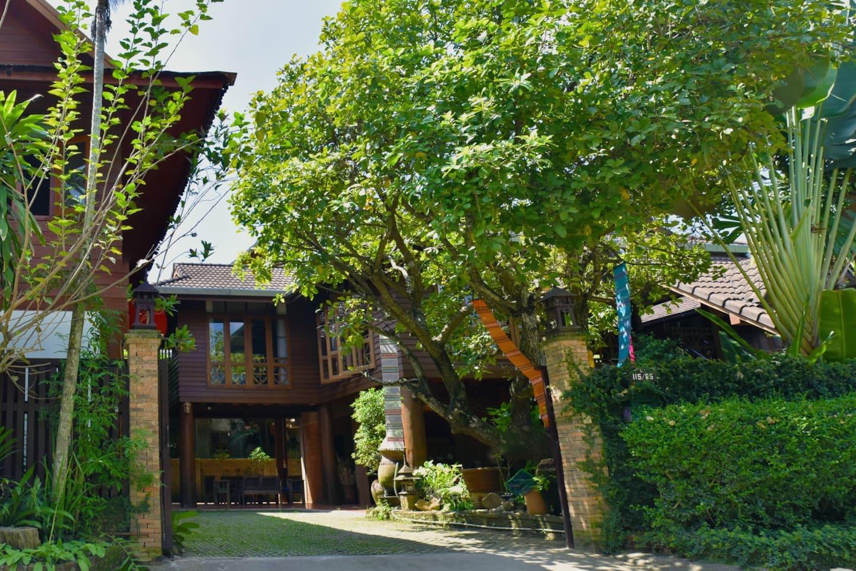 这是柚木别墅的正面,左边三件房子是A栋,右边两间房是B栋,一共五间房,每间房都有独立卫生间