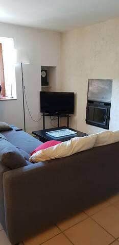 Salon avec canapé lit,  télé..