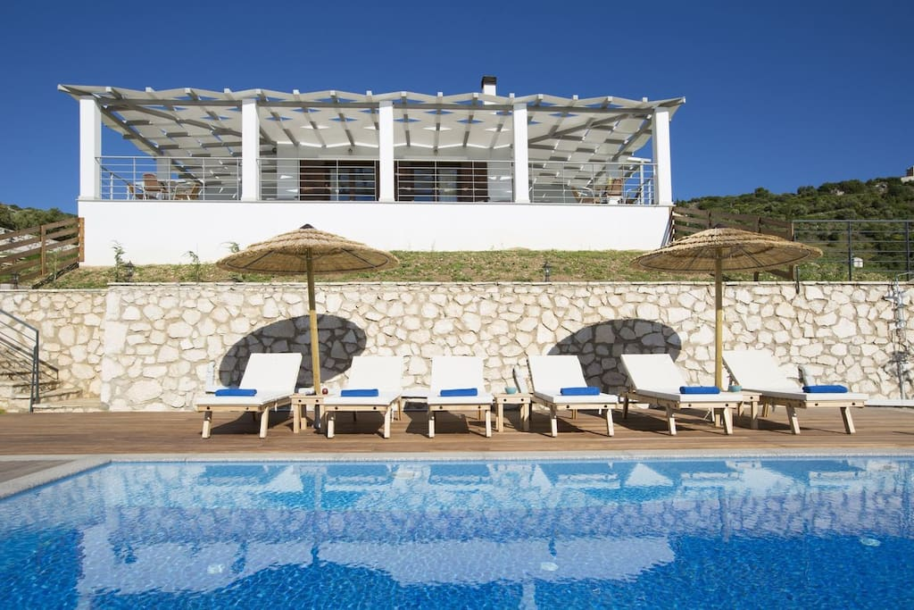 Luxury stone-made villa Afroditi with stunning sea view & private pool