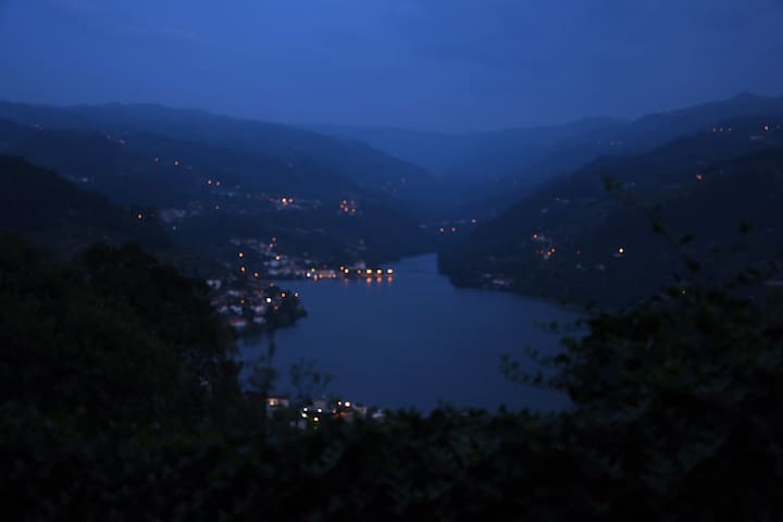Dusk and the lights come on along the River Douro
