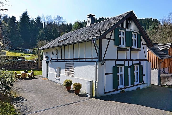 Gorgeous timbered farmhouse in the Sauerland with garden, fireplace and bar