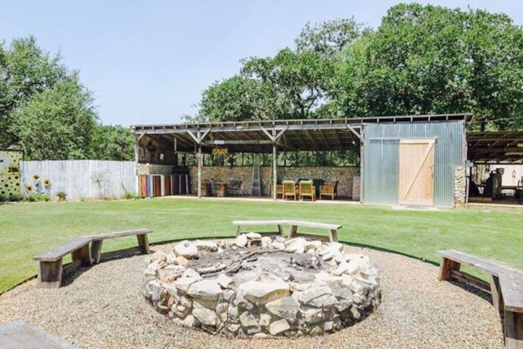 """Fire pit and outdoor """"party barn"""""""