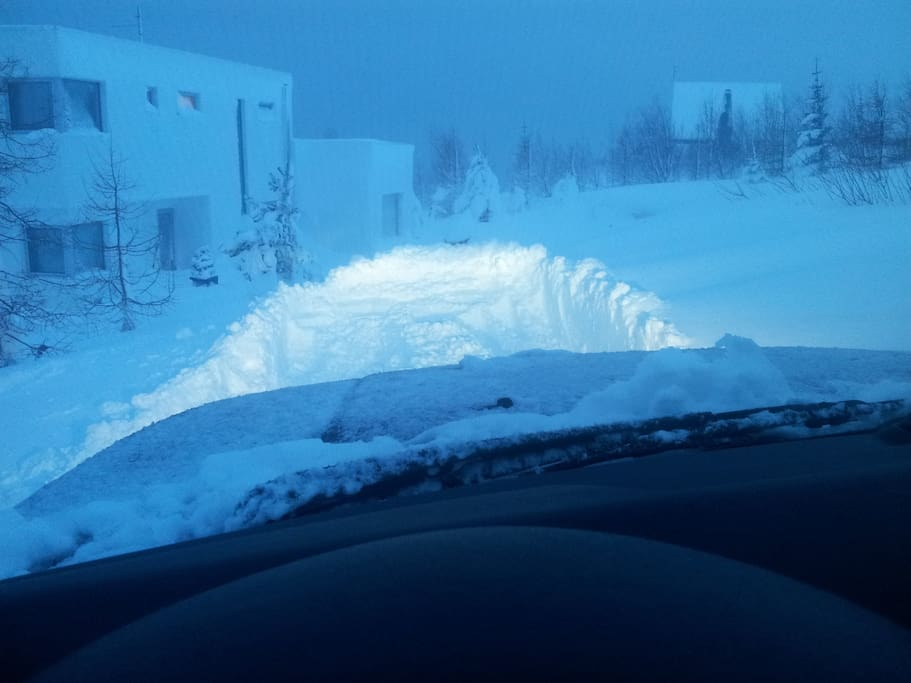 My driveway buried in snow in winter 2015