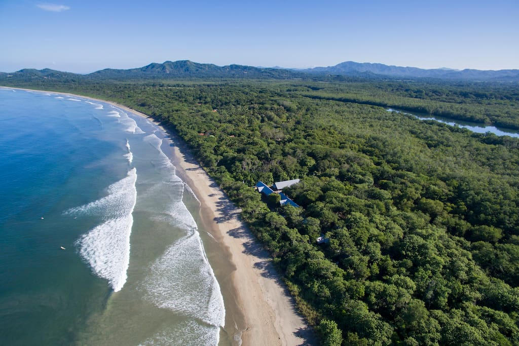 Unlike any other in it's category, L.V.B. is surrounded by 70 acres of  pristine forest facing the breaking surf of Costa Rica's Pacific Ocean. A short five minute walk on the beach takes you to the estuary, the natural barrier that separates the protected beach of Playa Grande from the lively surf town of  Tamarindo. Pangas are always available to assist in the crossing.