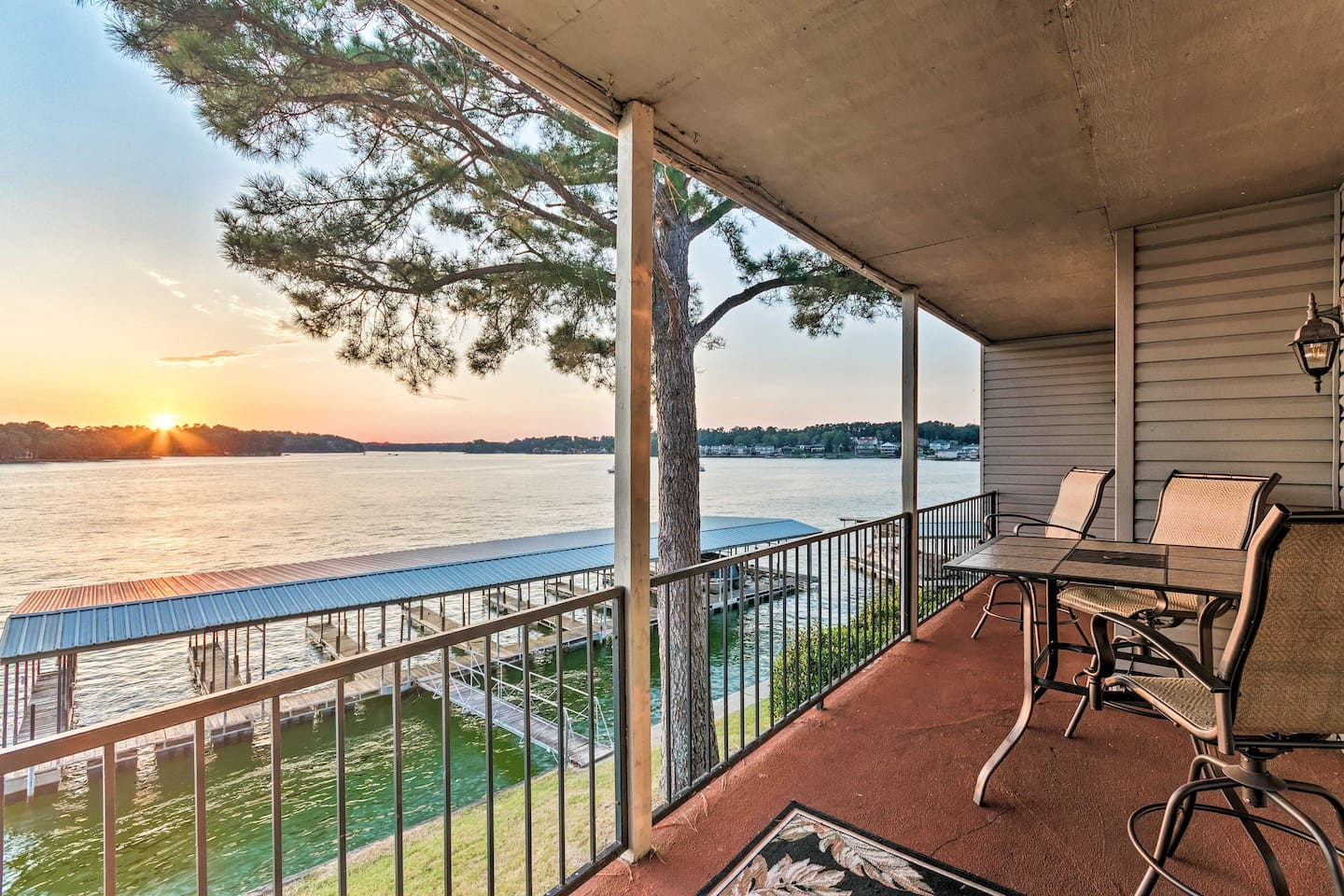 Enjoy the serene lakeside surroundings on your private patio!