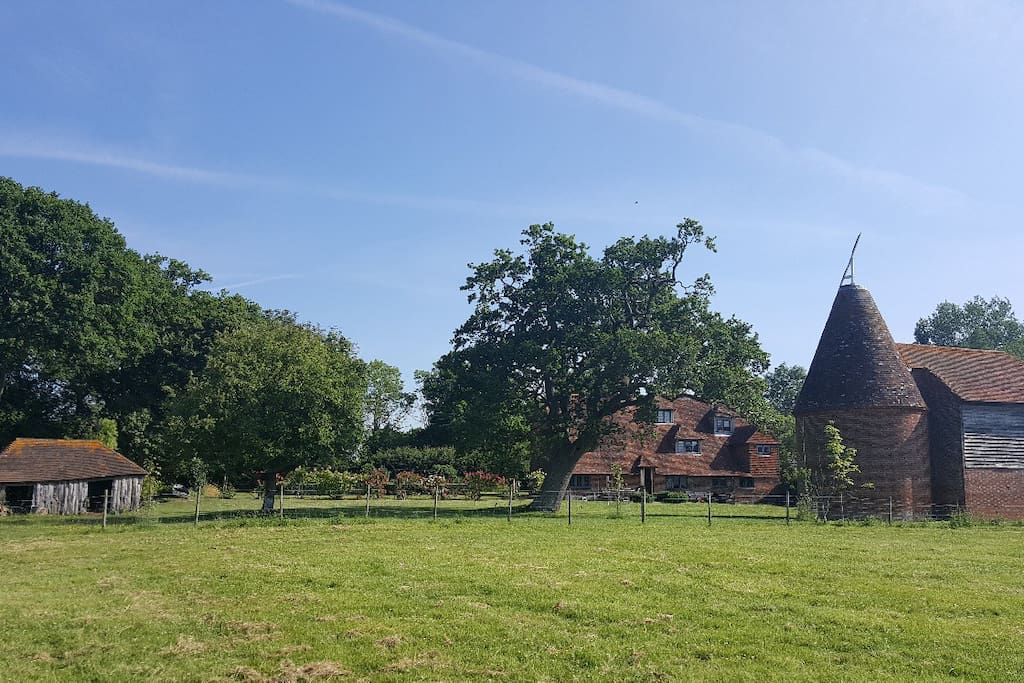 View of house, oast and wonky pig shed from our field