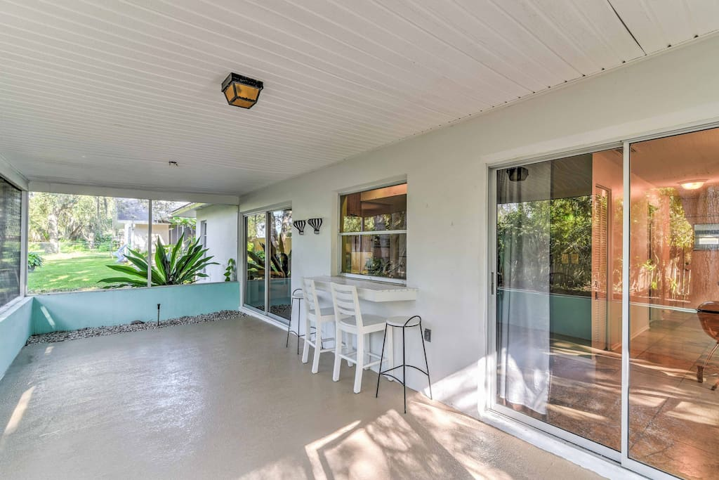 Eight lucky guests can spend their days lounging in the spacious covered patio.
