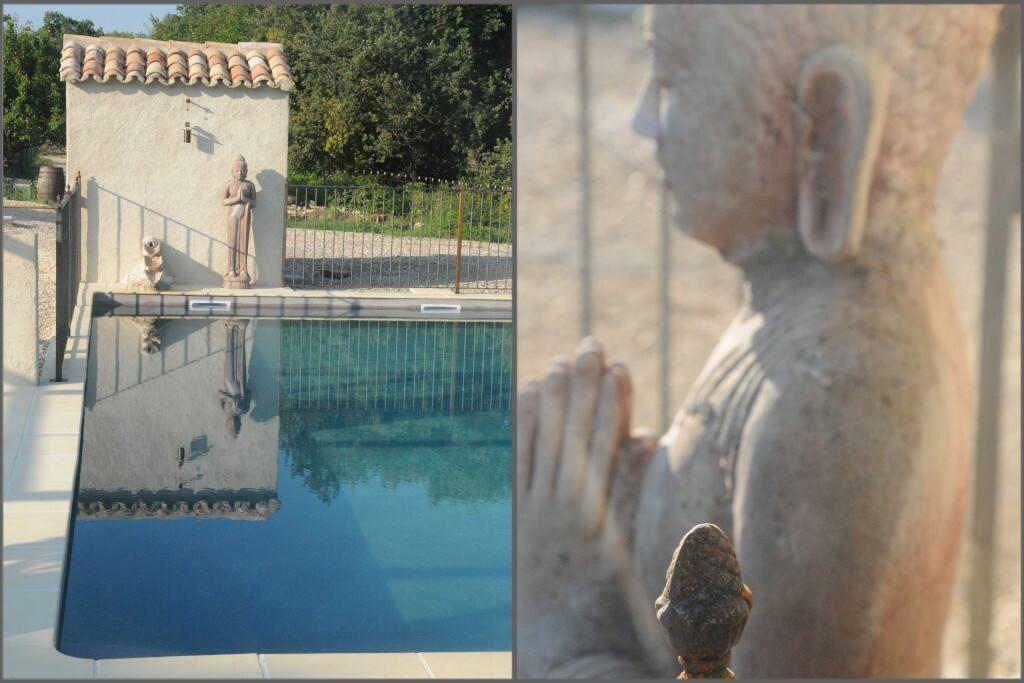 detail boeddha en waterval