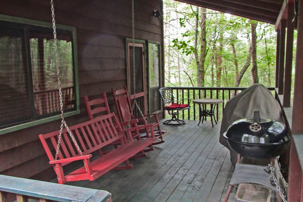 Porch swing, rockers-breath that pure mountain air while you relax in the woods