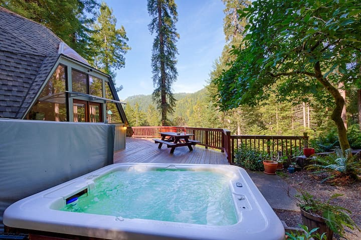 Relax in your own private hot tub on the deck underneath the stars and overlooking the redwood forest.