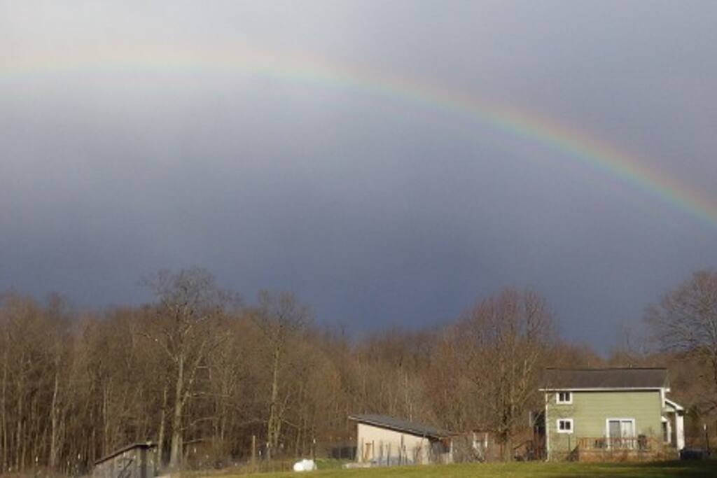 Beautiful rainbow over the Bowman House