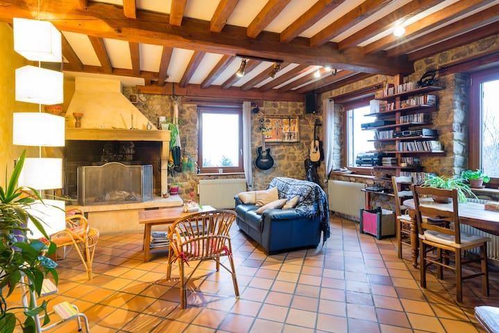 Salon / Salle de petit déjeuner avec cheminée