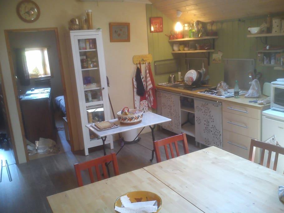 Dans la pièce de vie, un coin cuisine.