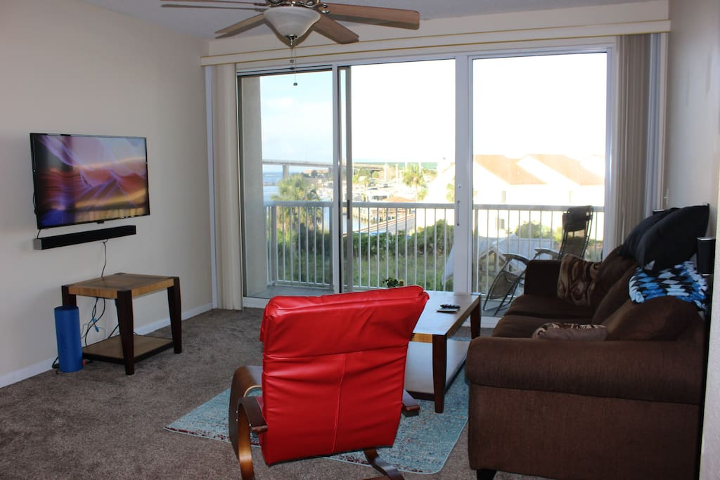 Living room with a view, or HDTV with surround sound as well.
