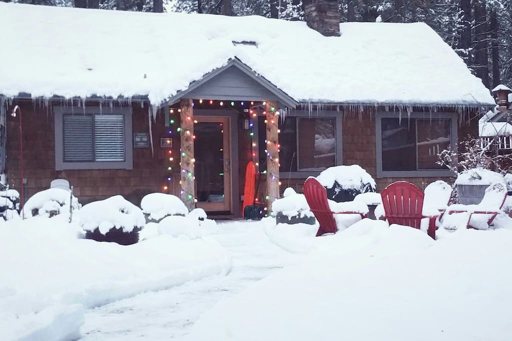 This is the cabin during the holiday season