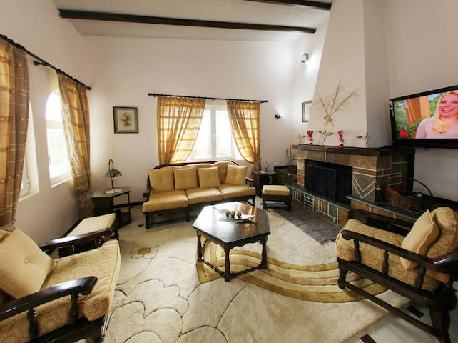 Κεντρικό σαλόνι με τζάκι και τηλεόραση
