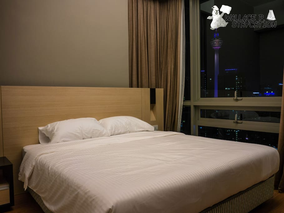 King size bed for masterbedroom. KL Tower can be seen from masterbedroom