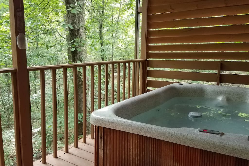 Hot tub sits on secluded back porch overlooking our wooded 4 acres