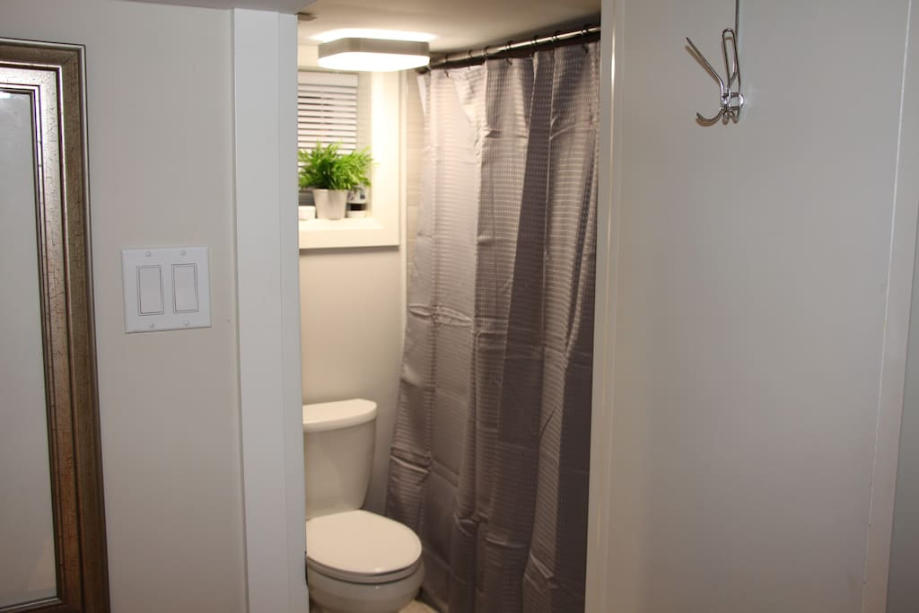 Washroom with shower and bathtub sink and toilet.