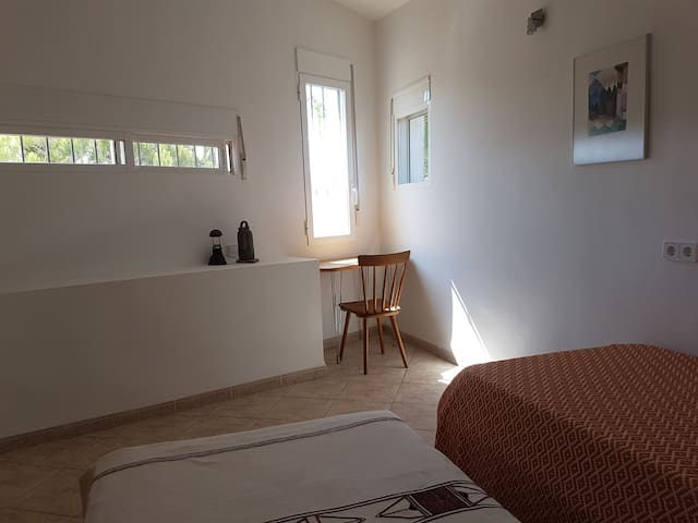 downstairs/ground level double bedroom . (2 single beds like all 3 double  bedrooms )