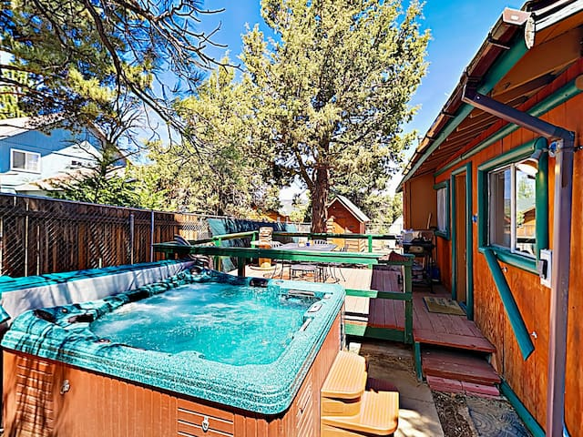 Relax in the quiet seclusion. A fenced yard includes a private hot tub.