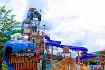 Huge water slides and lots of fun to be had at Hurricane Harbor, about 7 minutes from the house by Uber!