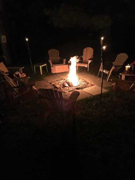 Our fireplace is great to relax and kick it with family and friends tons of Muskoka chairs to seat the group extra chairs on property it needed. (There is absolutely no daytime burning of any sort permitted.. fire pit can be used after 8 pm)