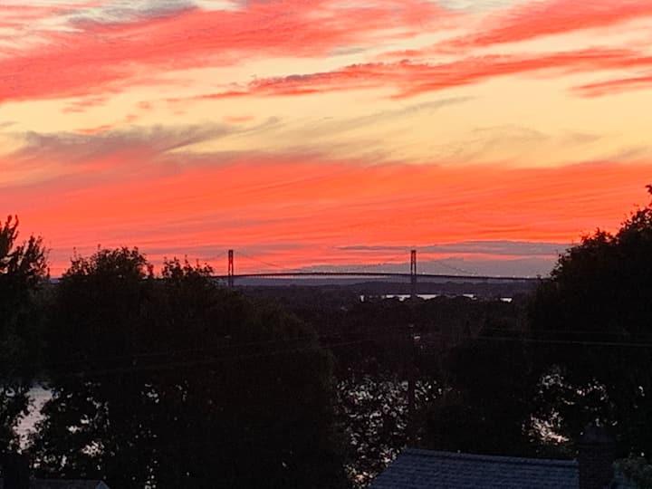 Panoramic water and bridge views