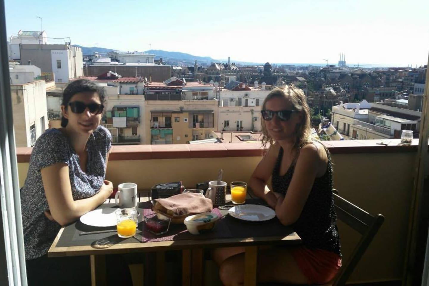 French and Sunny breakfast from the balcony