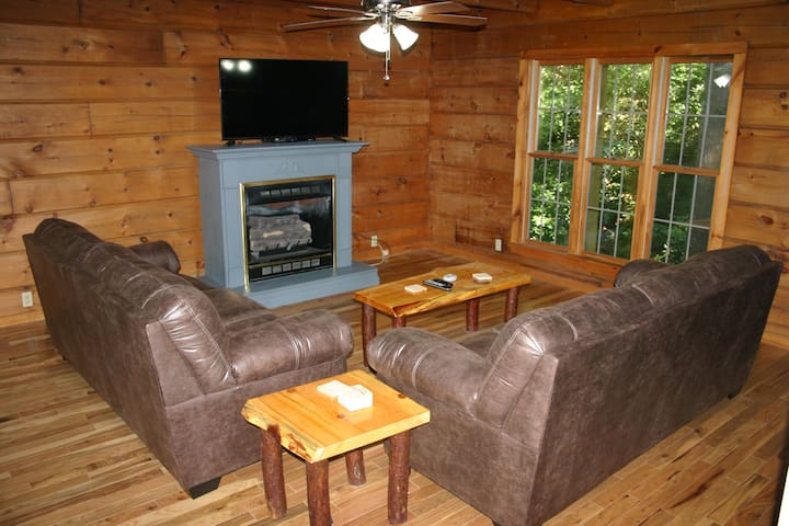 """Family room with fireplace and 50"""" HDTV (open to kitchen area)"""