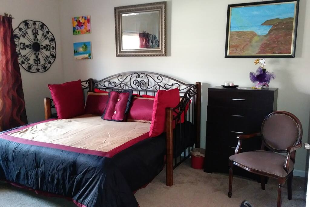 The Red room. King bed & foam mattress.
