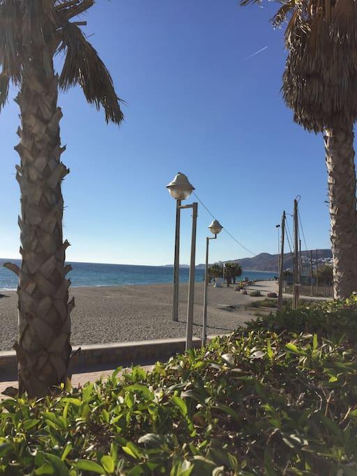 Stranden som ligger ca 50 meter från lägenheten