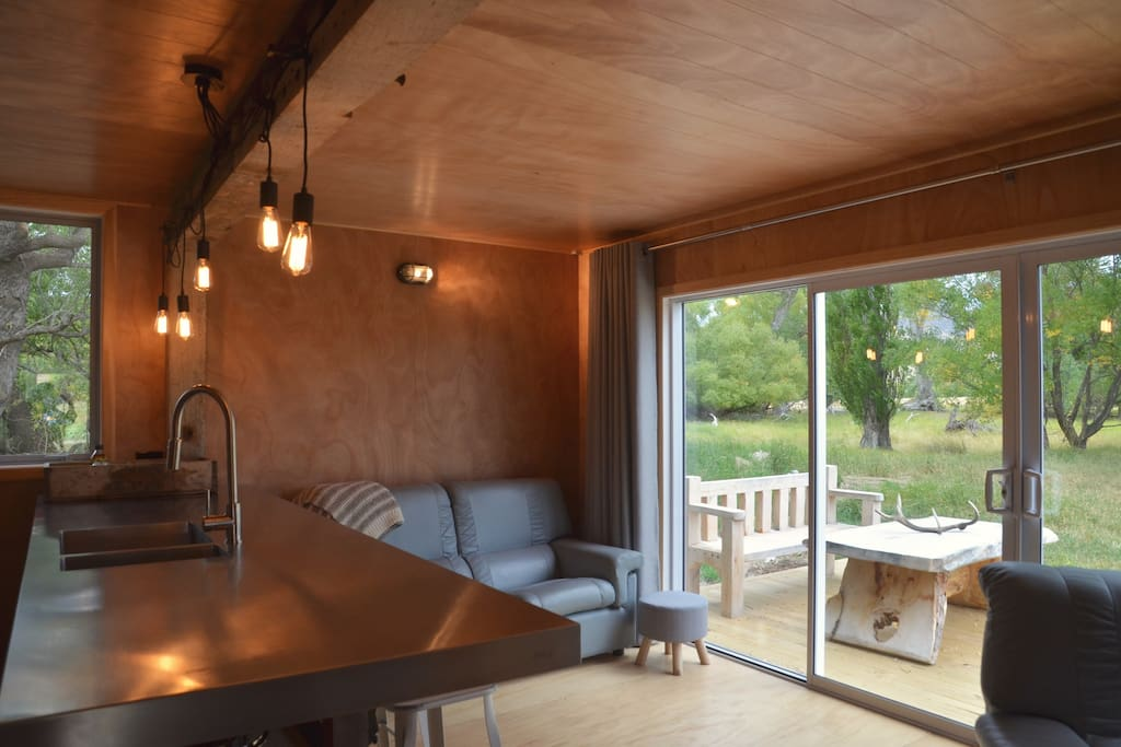 Open plan living area out onto deck