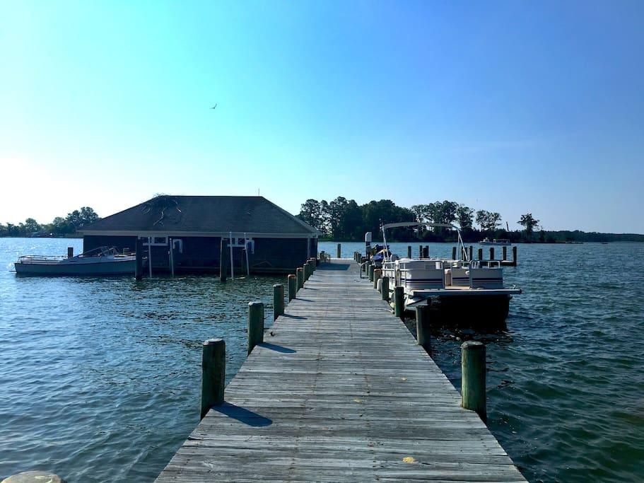 Dock with boathouse