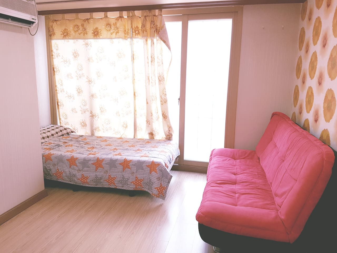 Single bed and Sofa(Which could be used 2nd bed)