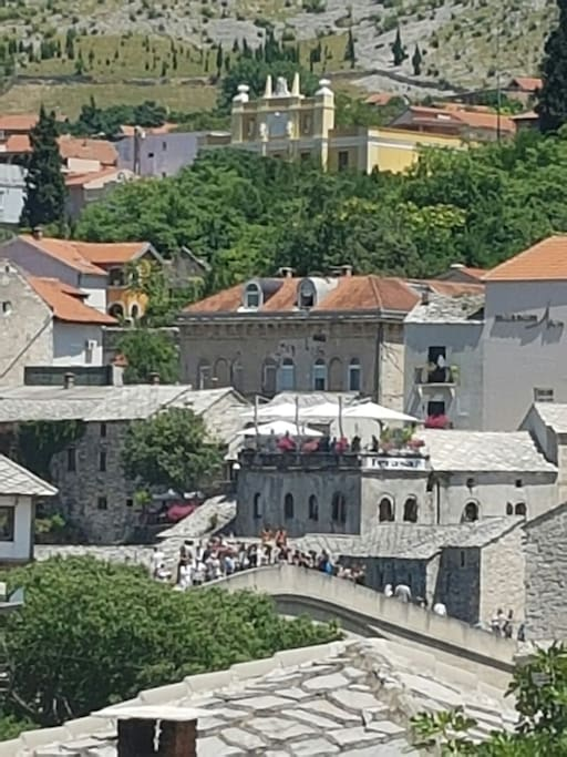 OLD BRIDGE Mostar.View from the balcony.