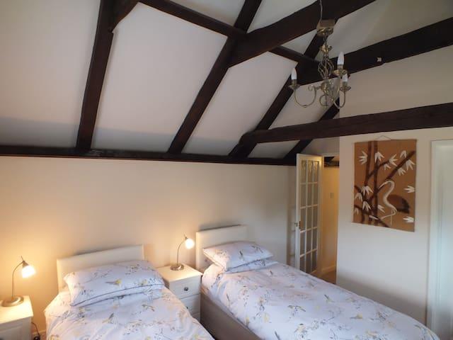 Upstairs twin zip and link bedroom